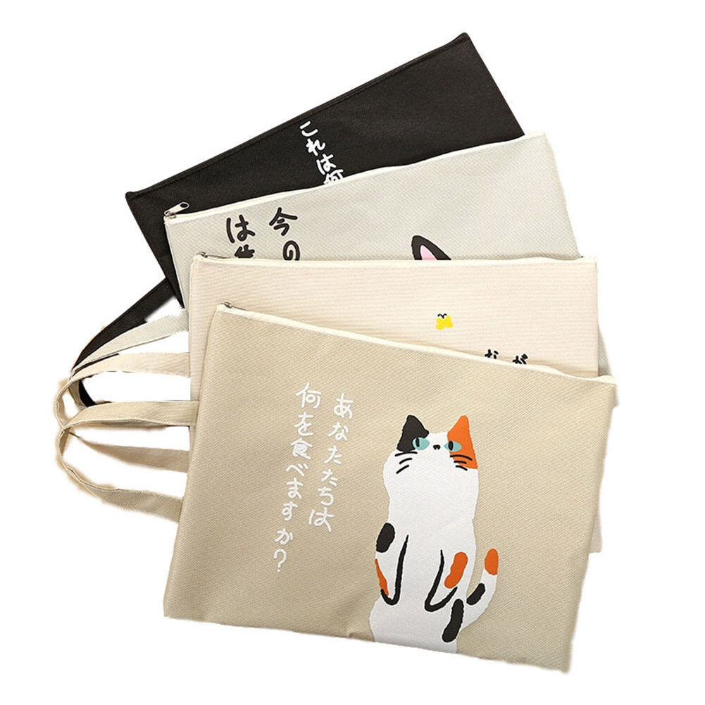 ROP Kawaii A4 Tas Dokumen Kucing Folder Tas Kawaii Lucu Kapasitas Besar Oxford Kain Kualitas Tinggi Folder Dokumen Hadiah Untuk Siswa