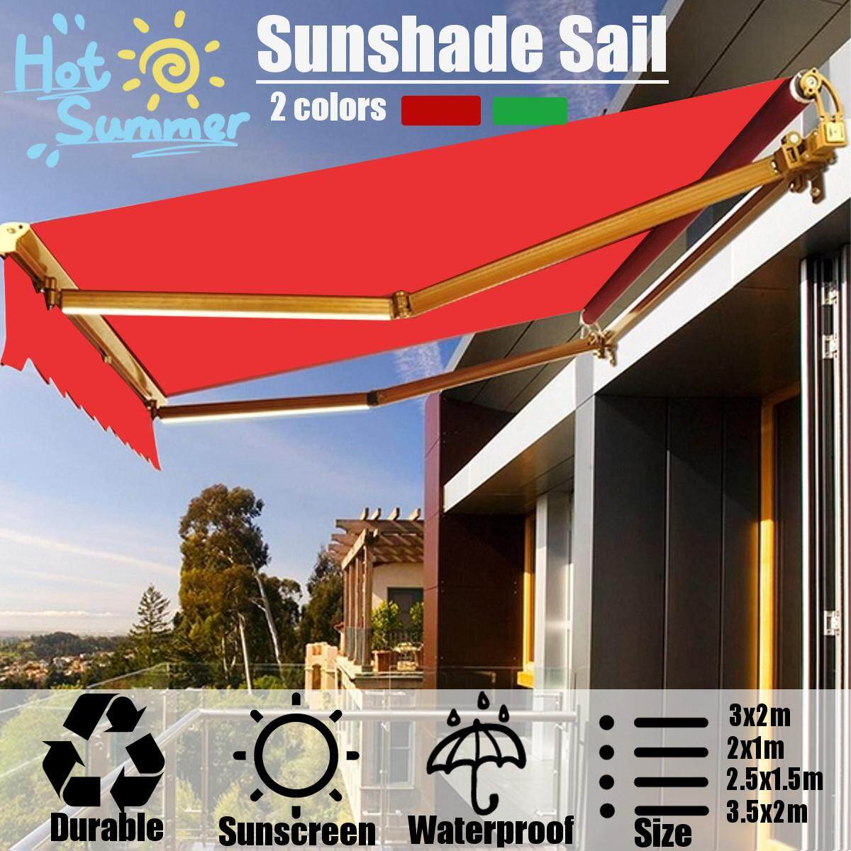 gaixample.org Blue/White Garden Awning 3m x 2.5m Patio Retractable ...