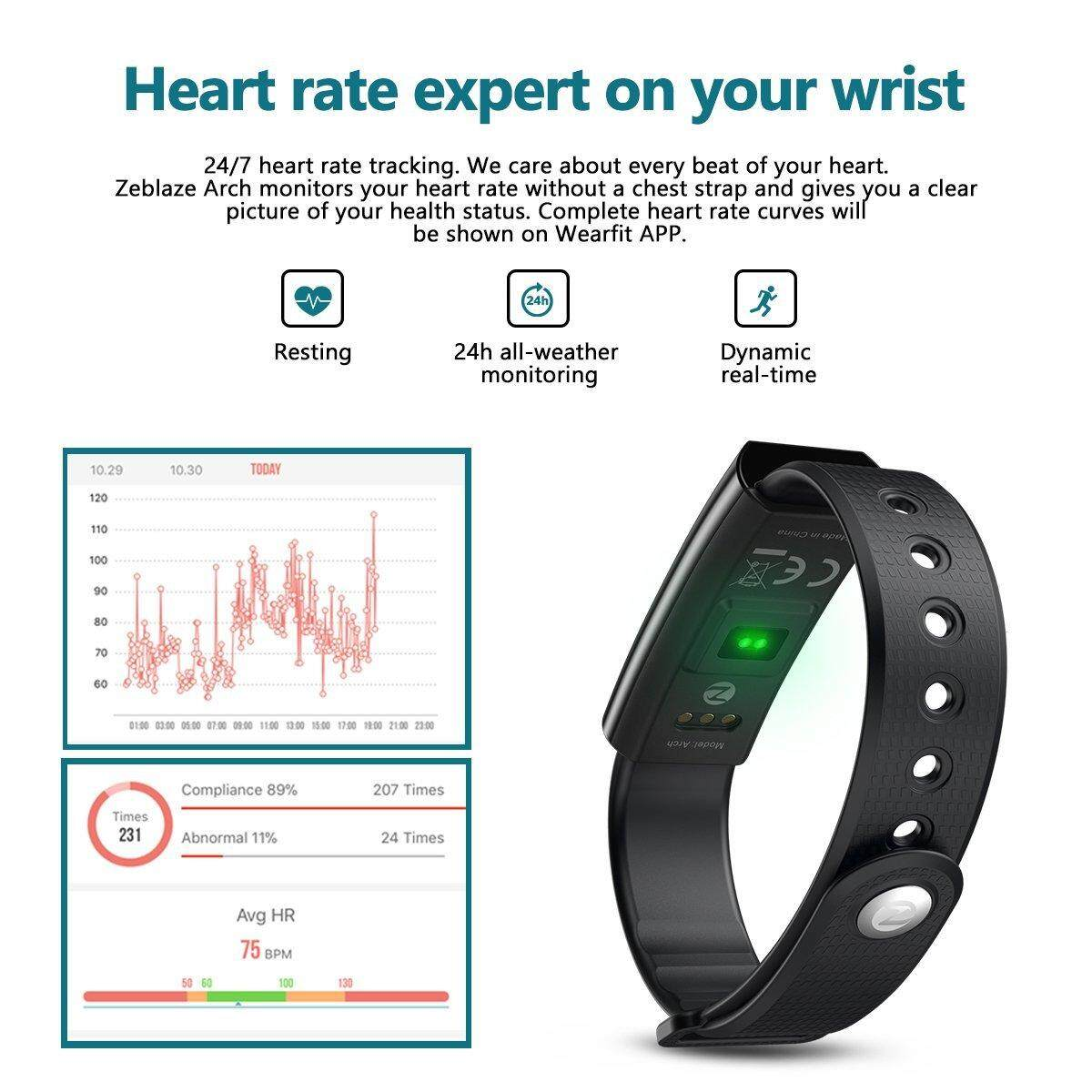 Hizek Zeblaze Arch Fitness Tracker,Hizek Activity Tracker with Heart & Rate  Monitor Wireless IP67 Waterproof Smart Wristand Pedometer with Sleep