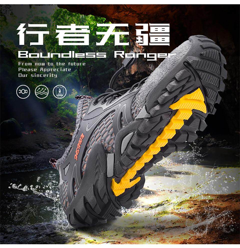 a497f1fcaa4 Summer Men Hiking Shoes Outdoor Climbing Anti-skid Wear Resistant Trekking  Boots Breathable Mesh Walking Shoes