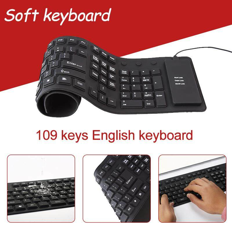 Keyboard USB Wired Foldable Silicone Soft Waterproof Keyboards for Laptop  Notebook PC Black 109 Keys