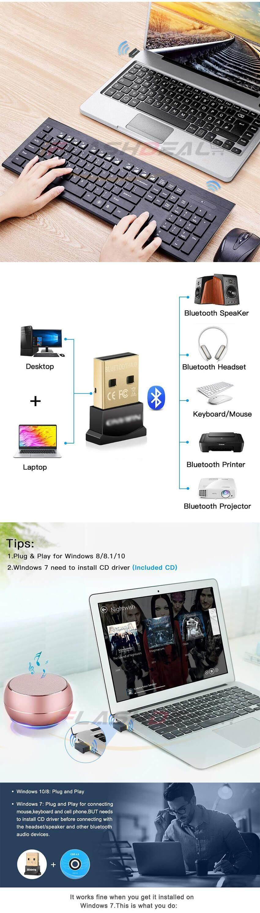 iFlashDeal USB Bluetooth Adapter for PC Wireless Dongle Mini Bluetooth USB  Dongle Dual Mode Bluetooth 4 0 Adapter for PC Computer Laptop Windows