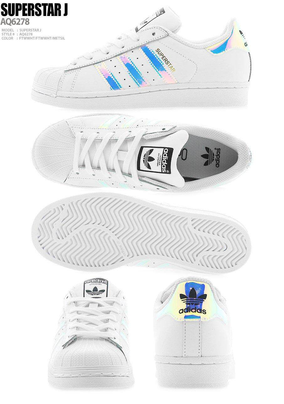 Adidas Originals Junior Superstar J Iridescent Hologram AQ6278 Fashion Shoes