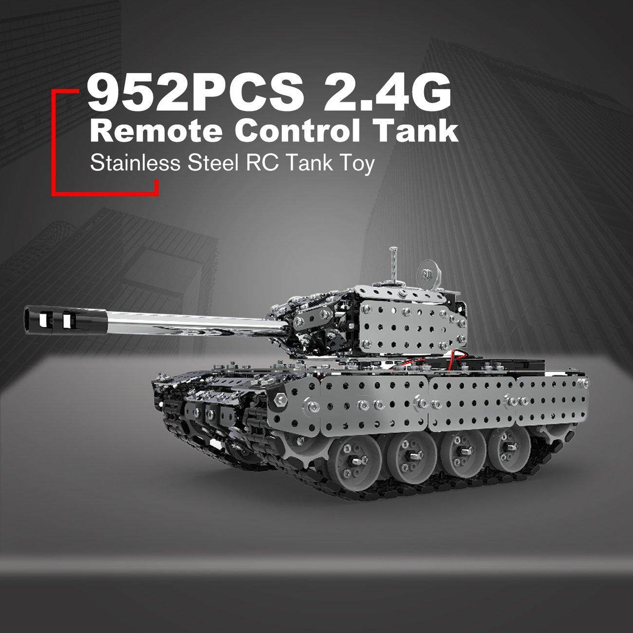 Hot Deals 2 4G RC Military Tank DIY Assembly set Stainless Steel Remote  Control Tank Toy