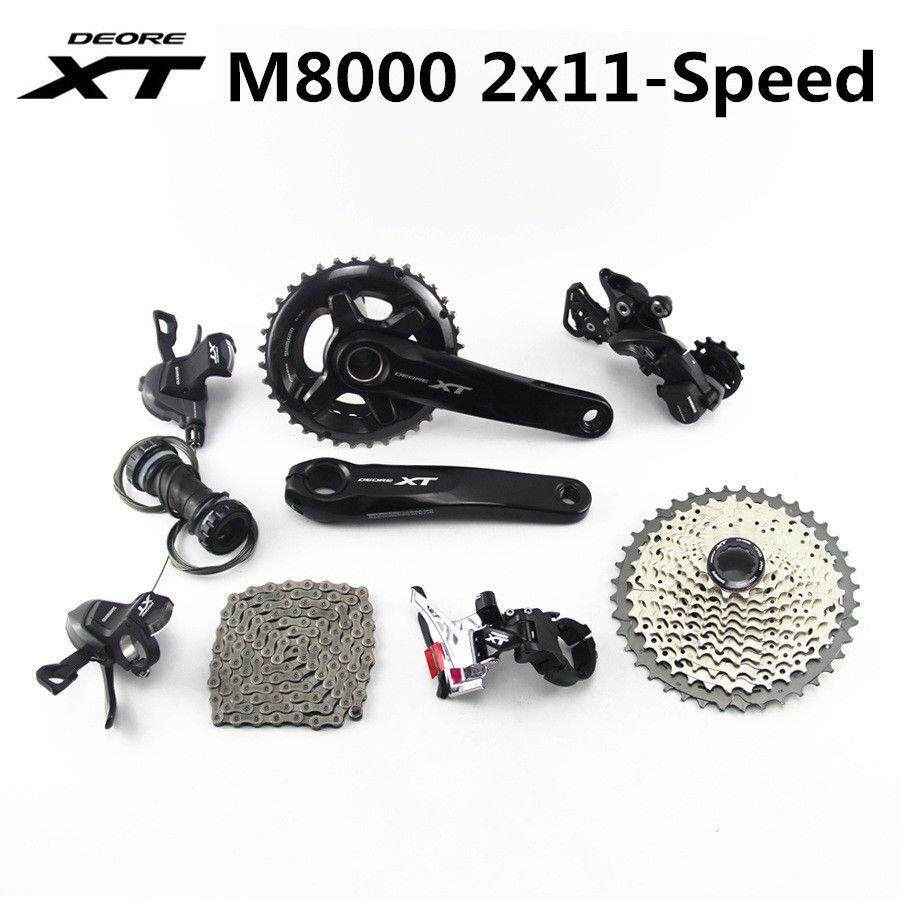 Shimano Deore XT M8000 Bike Group Set Groupset 2x11S 170/175MM 42-46T  Chainring + Chain+cassette+Rear derailleur bicycle parts