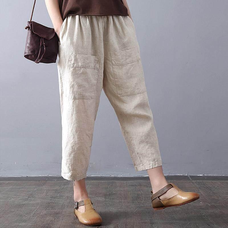 d8d88970158 ZANZEA Women Summer Vintage Wide Leg Elastic Waist Cropped Harem ...