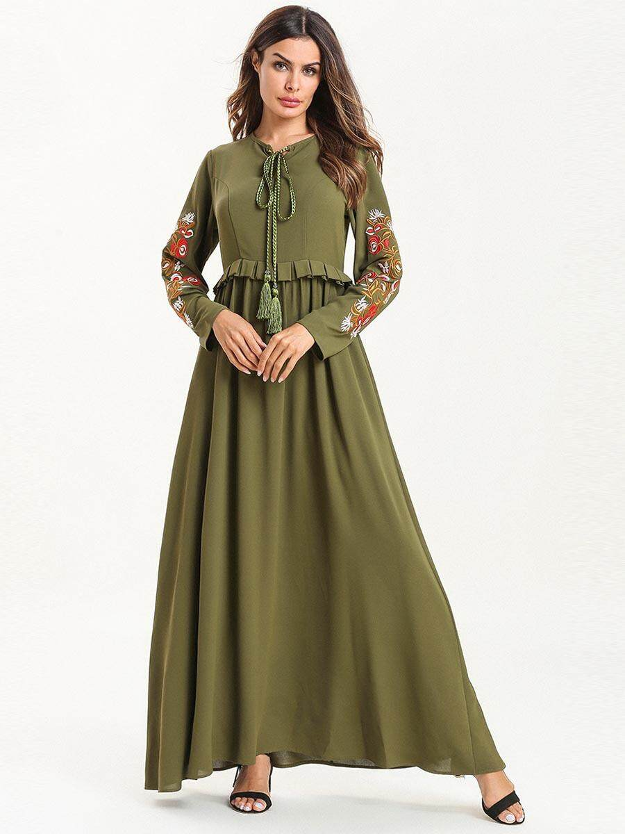 d44e48135cc2e 2019 Elegant Green Muslim Embroidery Abaya Maxi Dress Kimono Long Robe  Gowns Ramadan Middle East Islamic Prayer Worship Service Clothing