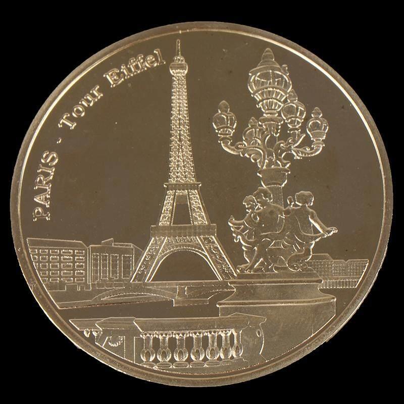 Eiffel Tower France Paris Landmark Gold Plated Commemorative Coin Tour Souvenir