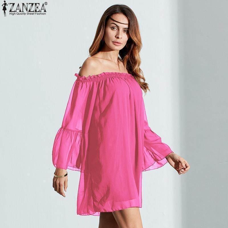 aad56f975d5 Specifications of ZANZEA Plus Size Women Sexy Off Shoulder Dress Boho  Summer Short Mini Dresses Loose Long Flare Sleeve Chiffon Vestido De Festa  Navy