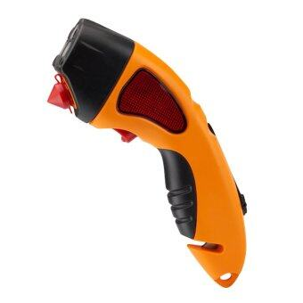 360DSC 4-in-1 Multi-function Car Emergency Safety Hammer & SeatBelt Cutter & LED Flashlight & Warning Light Powered byHand Crank or USB Charging