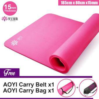 AOYI [NP40] 15mm Tickness Multi-Function Exercise Yoga Mat Non-Slip Extra Thick (185cm x 80cm x15mm)