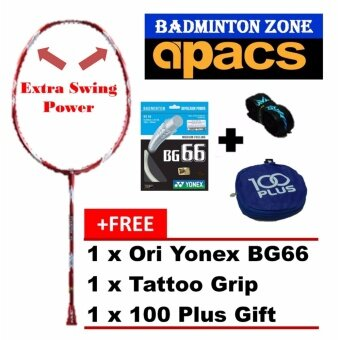 Apacs Stardom 80 (Red)+BG66+Grip+Gift Unstrung Badminton Racket