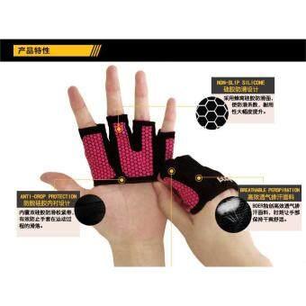 BOER Half Finger Fitness Gloves Anti-slip Breathable Four FingersPalm Gloves Gym Exercise Sport Body Building Weightlifting (Pink) - 4