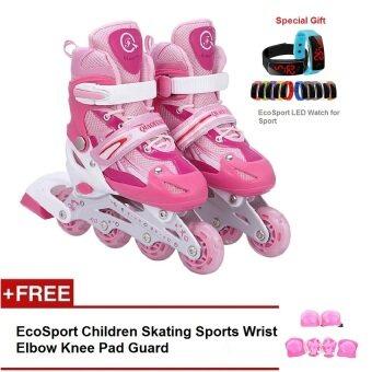 EcoSport Adjustable Inline Skate Front Flash Wheels Combo Set (Pink) + LED Sport Watch