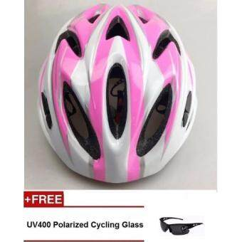 Harga EcoSport FS007 High Quality Safety Cycling Helmet (Pink White) +UV400 Polarized Cycling Glass