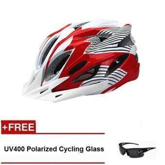 Harga EcoSport FS007 High Quality Safety Cycling Helmet (Red White Line)+ UV400 Polarized Cycling Glass