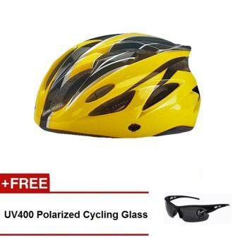 Harga EcoSport FS007 High Quality Safety Cycling Helmet (Yellow Black) + UV400 Polarized Cycling Glass