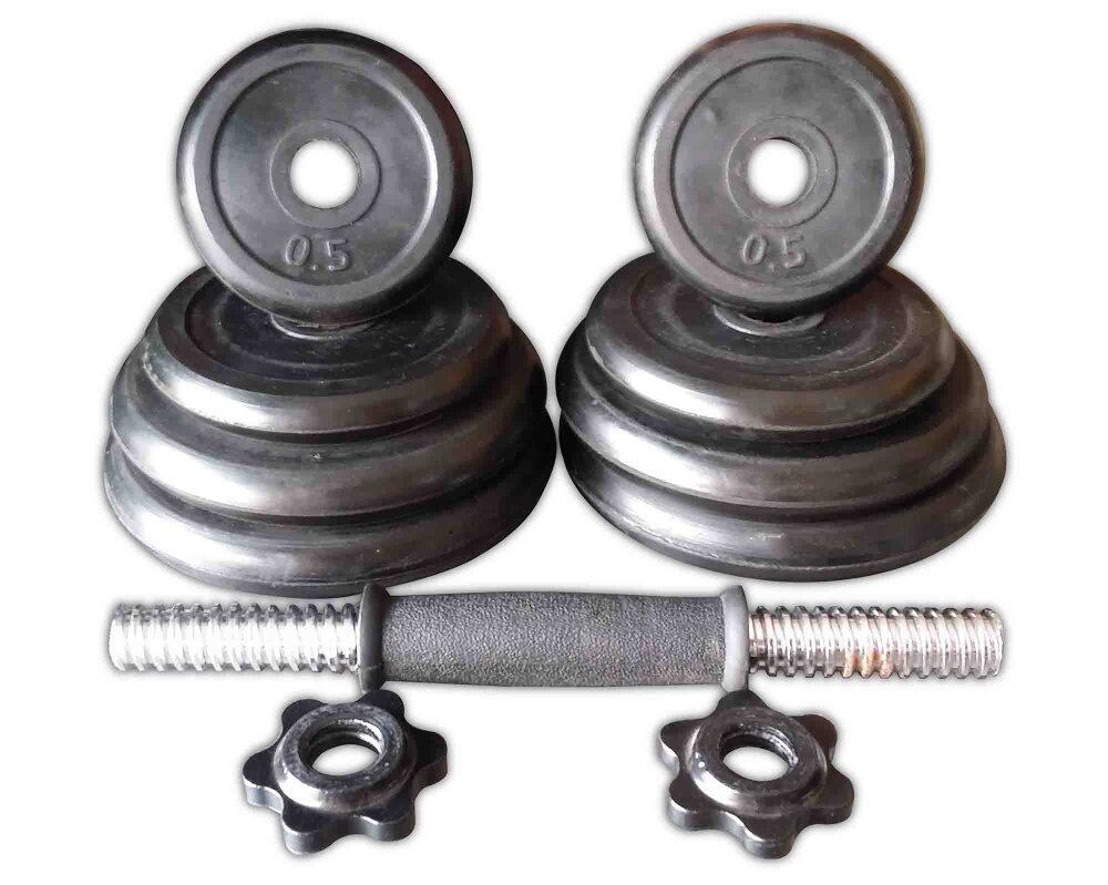 Gym Quality Rubber Dumbbell 10 KG Adjustable image on snachetto.com