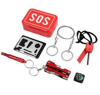 Harga Leegoal Survival Kits Emergency SOS Survival Tools Pack For Camping Hiking Hunting Biking Climbing Traveling And Emergency(Red)