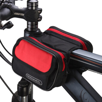 Harga Roswheel Cycling Pouch Front Bikes Frame Bag Saddle Bicycle Panniers Tube Bag Bicycle Accessories Black-Red