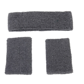 Harga Elastic Sweatband Set 1x Headband 2x Wristbands For Sports-Grey