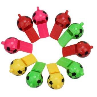 Harga 10Pcs Referee Coach Sports Training Plastic Whistle Stylish Football Design