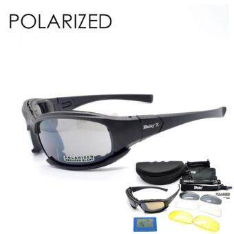 Harga Loveu Store 4 Lens Polarized Cycling Goggles TR90 Tactical Military Eyewear UV Sunglasses
