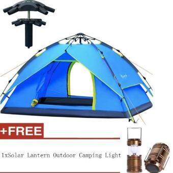 Harga Outdoor Tent 3-4 Person Camping&Hiking Automatic HydraulicTents With Carry Bag+Camping Lights(Blue)