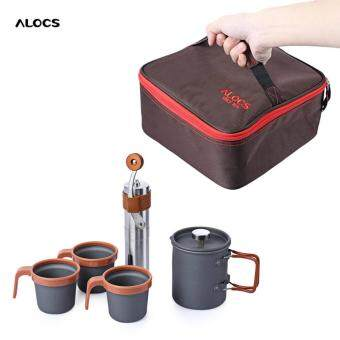 Harga Alocs Cw - K10 Outdoor Home French Press Pot Kit Hand Manual Coffee Bean Mill Grinder(Black)