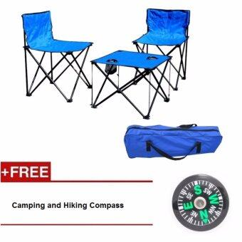 Harga EcoSport Portable Folding Camping Table and Chairs (Blue) + Camping Hiking Compass