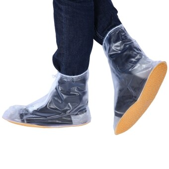 Harga MiniCar Men Women PVC Waterproof Slip-resistant Zipper Overshoe Rain Shoe Cover
