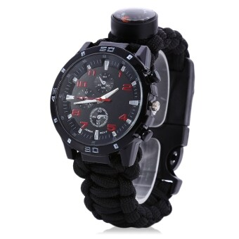 Harga MiniCar Outdoor Survival Watch Bracelet with Compass Flint Fire Starter Paracord Thermometer Whistle(Color:Black)
