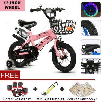Harga BEIQITONG (NP128) 12 Inch Wheels Sturdy steel frame BMX Freestyle Kids Sport Bikes With Training Wheels for Boys Or Girls