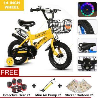 Harga BEIQITONG (NP138) 14 Inch Wheels Sturdy steel frame BMX Freestyle Kids Sport Bikes With Training Wheels for Boys Or Girls