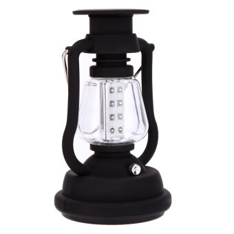 Harga 120 Lumens 16 LEDs Outdoor Portable Water Resistant Rechargeable Hand Crank Camping Lantern Solar Camping Light Lamp for Hiking Camping Emergency