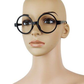 Harga Fancy Round Frame Party Dress Big Nerd Eyeglasses Glasses Frame No Lens Matte Black