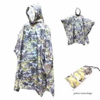 Harga Three in one camouflage raincoat, Multifunction Military Emergency Rain Poncho, started as a tent, moistureproof pad, Unfolding L 220cm/W 146cm,Yellow camouflage