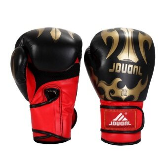 Harga JDUANL SW324 Professional Leather Boxing Training Glove (Black)