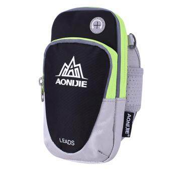 Harga Aonijie (Black) Portable Waterproof Outdoor Cycling Sport Running Wrist Pouch Mobile Cellphone Bag Arm Package