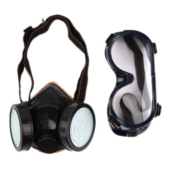 Harga Allwin Protection Filter Double Gas Mask Chemical Gas Respirator Face Mask Goggles Black