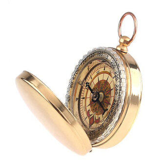 Leegoal Watch Style Antique Brass Pocket Compass Survival Tools ForCamping Hiking Outdoor Sports(Brassy) - 3