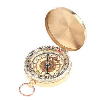 Leegoal Watch Style Antique Brass Pocket Compass Survival Tools ForCamping Hiking Outdoor Sports(Brassy) - 2