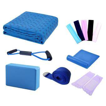 leegoal Yoga Starter Kit - 7 Piece Essentials Beginners Bundle Include Yoga Towel,Yoga Blocks,Yoga Strap,Stretch Band,Yoga Sock,Yoga Head Band,Spring Cable,Blue