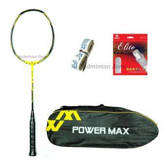 Power Max Dual 9 Yellow Black + PM 101 Yellow Bag + AP Elite Gut + Hi Soft Grip(FOC Gift Color Random Pick by Seller) Badminton Racket