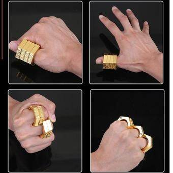 Harga SellinCost 3D Full Steel Movable Self Defence Kung Fu SolidPunching Ring Rings Hexagon Gold