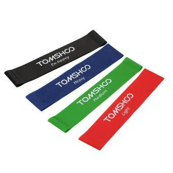 TOMSHOO Set of 4 Exercise Resistance Loop Bands Latex Gym StrengthTraining Loops Bands Workout Bands Physical Therapy Home FitnessPhysical Therapy