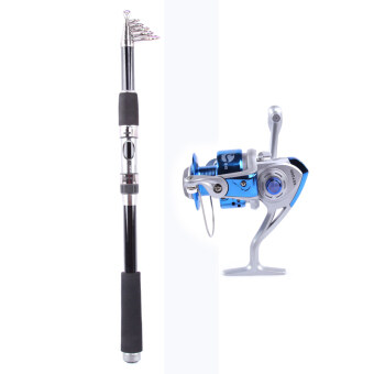 Whale Portable Carbon Fishing Rod Fishing Pole 2.4M+Rocker ReelFishing Spool Vessel Fish Reel Rod Sea Spinning Wheel Line GearFB1000 (Blue)
