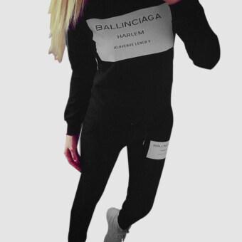 Women Coat+Pants Casual Sport Suit Black - 5