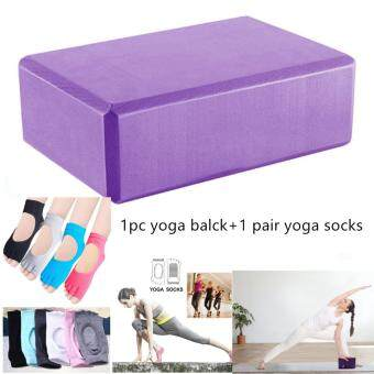 Yoga Blocks Foam Bricks Exercise Fitness Yoga Pilates and Non SlipYoga Socks Non Skid Yoga Pilates Barre Toeless Socks with Grips forWomen