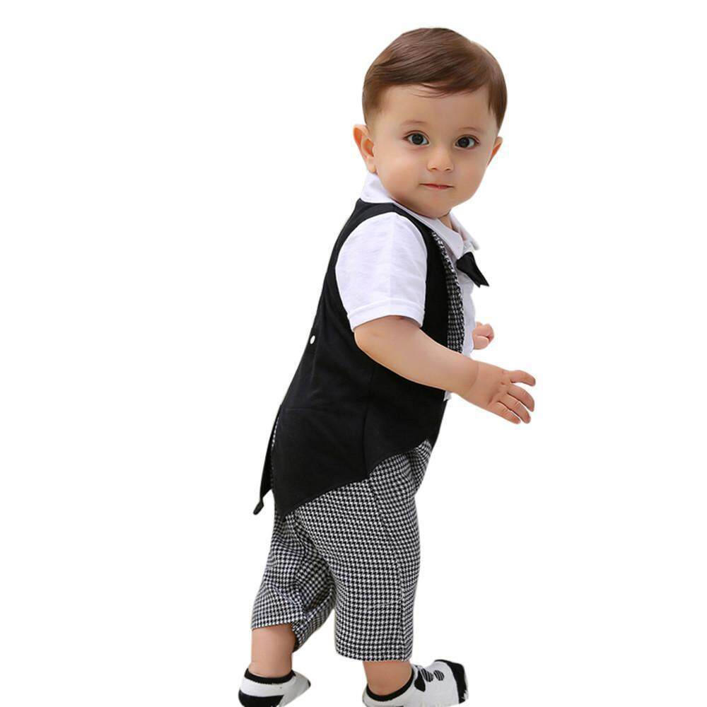 Toddler Baby Boys Gentleman Bowties Jumpsuit Romper+Pants Shorts Outfits Clothes